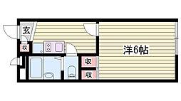 山陽電鉄本線 藤江駅 徒歩10分の賃貸アパート 1階1Kの間取り