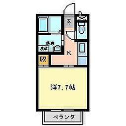 勝ハイツ壱番館 2階ワンルームの間取り