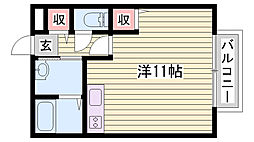 JR山陽本線 相生駅 バス30分 播磨高原中学校下車 徒歩3分の賃貸アパート 1階1Kの間取り