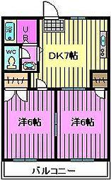 埼玉県さいたま市南区曲本1丁目の賃貸アパートの間取り