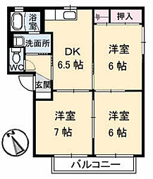 山口県山陽小野田市西高泊の賃貸アパートの間取り
