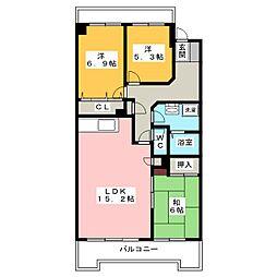 愛知県名古屋市昭和区山中町1丁目の賃貸マンションの間取り