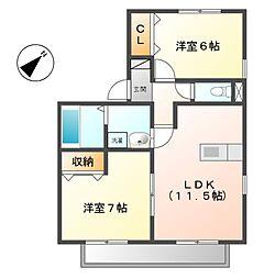 愛知県名古屋市緑区池上台2丁目の賃貸アパートの間取り