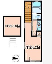 東京都大田区多摩川2丁目の賃貸アパートの間取り