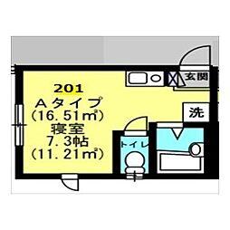 Well−B横濱反町II[0201号室]の間取り