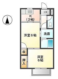愛知県北名古屋市二子曙の賃貸アパートの間取り
