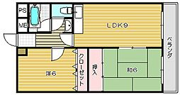 大阪府茨木市水尾3丁目の賃貸マンションの間取り
