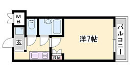 JR東海道・山陽本線 東加古川駅 徒歩2分の賃貸マンション 7階1Kの間取り