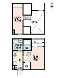 愛知県名古屋市中川区打出2丁目の賃貸アパートの間取り