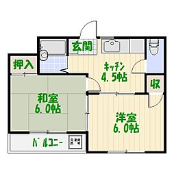 加島コーポ[3階]の間取り