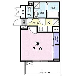 埼玉高速鉄道 鳩ヶ谷駅 徒歩6分の賃貸アパート 2階1Kの間取り