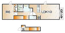 ラ・リヴィエールB[2階]の間取り