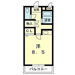ビルディング大和 4階ワンルームの間取り