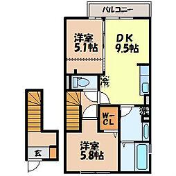 長崎県諫早市立石町の賃貸アパートの間取り