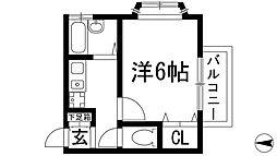 兵庫県宝塚市中筋6丁目の賃貸アパートの間取り