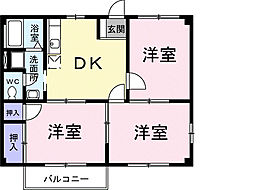 千葉県千葉市緑区おゆみ野2丁目の賃貸アパートの間取り
