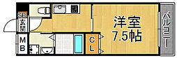 モレス・ヴィラ尼崎 4階1Kの間取り