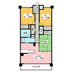 ライオンズマンション柳津[3階]の間取り