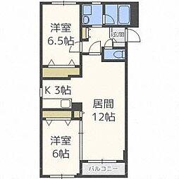 北海道札幌市中央区北十条西20丁目の賃貸マンションの間取り