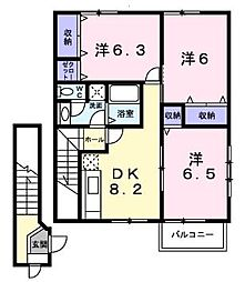 JR予讃線 丸亀駅 徒歩28分の賃貸アパート 2階3DKの間取り