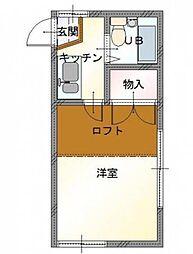 岡山県岡山市北区西古松西町の賃貸アパートの間取り