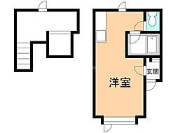 メゾンドKIII 1階ワンルームの間取り