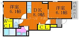 JR吉備線 備前一宮駅 徒歩8分の賃貸アパート 1階2DKの間取り