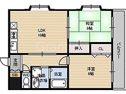 サニーフラット田中[3階]の間取り