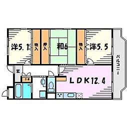兵庫県西宮市段上町6丁目の賃貸マンションの間取り