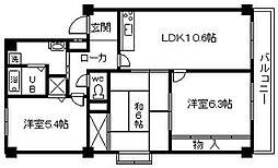大阪府貝塚市堀1丁目の賃貸マンションの間取り