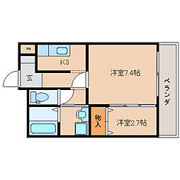 奈良県奈良市宝来3丁目の賃貸マンションの間取り