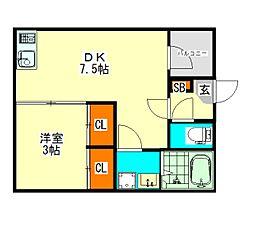 愛知県名古屋市北区上飯田通2丁目の賃貸アパートの間取り