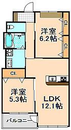 兵庫県伊丹市千僧6丁目の賃貸マンションの間取り