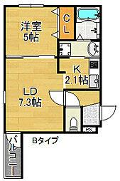 フジパレス北加賀屋VII番館[2階]の間取り