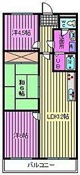 サニーフラット南浦和[2階]の間取り