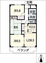 キンミツワ司ビル[2階]の間取り