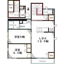 JR中央本線 西国分寺駅 徒歩13分の賃貸アパート 2階2LDKの間取り