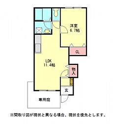 愛知県一宮市南印田2丁目の賃貸アパートの間取り