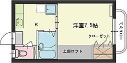 バス 中国JR小滝原下車 徒歩3分の賃貸アパート 1階1Kの間取り