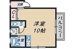 大阪府豊中市千里園2丁目の賃貸アパートの間取り