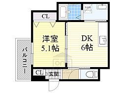 Osaka Metro今里筋線 緑橋駅 徒歩13分の賃貸アパート 2階1DKの間取り