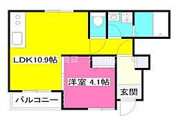 西武多摩湖線 武蔵大和駅 徒歩23分の賃貸アパート 1階1LDKの間取り