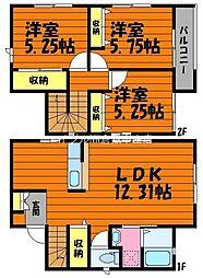[一戸建] 岡山県倉敷市西中新田 の賃貸【/】の間取り
