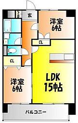 アリベ東古松[4階]の間取り