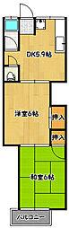 兵庫県神戸市兵庫区平野町の賃貸アパートの間取り