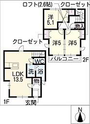 [タウンハウス] 愛知県名古屋市天白区元八事3丁目 の賃貸【/】の間取り
