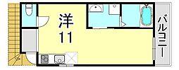 シャルマン神戸三宮 4階1DKの間取り
