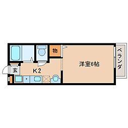 JR関西本線 王寺駅 徒歩2分の賃貸アパート 2階1Kの間取り