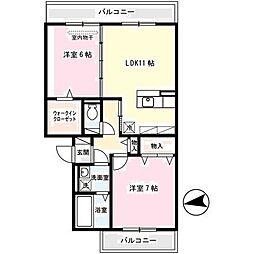 大阪府八尾市植松町2丁目の賃貸アパートの間取り