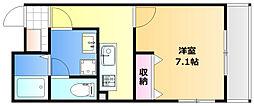 岡山電気軌道清輝橋線 東中央町駅 徒歩3分の賃貸マンション 4階1Kの間取り
